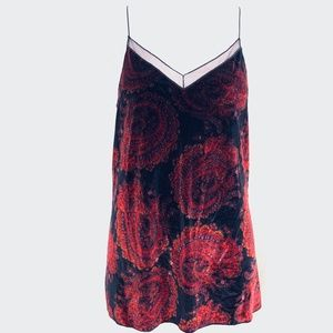 FREE PEOPLE Velvet Red Paisley Cami Top Blouse  S